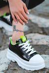 Bombon Bağcık Detaylı Siyah Rugan Kadın Spor Ayakkabı
