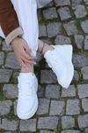 Aletta Mat Deri Bağcık Detaylı Beyaz Kadın Spor Ayakkabı