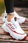 Dicha-2001 Bağcık Detaylı Kırmızı Parçalı Beyaz Kadın Spor Ayakkabı