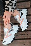 Luda Pembe Parçalı Hologramlı Bağcık Detaylı Beyaz Kadın Spor Ayakkabı