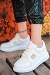 Dannes File Detaylı Bağcıklı Beyaz Kadın Spor Ayakkabı