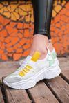 Jabel Sarı Parçalı Bağcıklı File Detaylı Beyaz Kadın Spor Ayakkabı