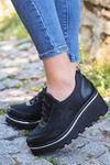 Wassa Dalgıç Kumaş Taş Detay Dolgu Yeni Topuk Ayakkabı Siyah