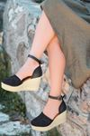 Royden Örgü Detaylı Dolgu Topuklu Siyah Kadın Ayakkabı