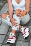 Luda Kırmızı Parçalı Hologramlı Bağcık Detaylı Beyaz Kadın Spor Ayakkabı