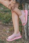 Comfy Triko Pudra Kadın Sandalet
